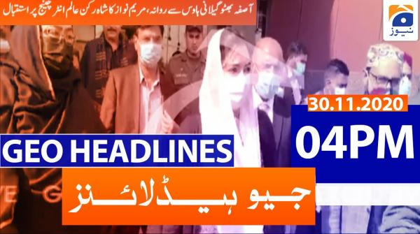 Geo Headlines 04 PM | 30th November 2020