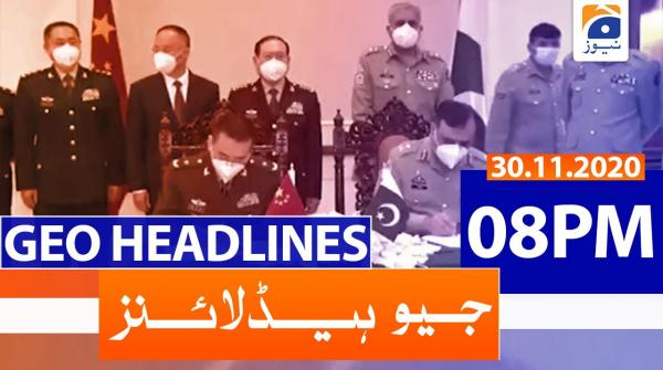 Geo Headlines 08 PM | 30th November 2020