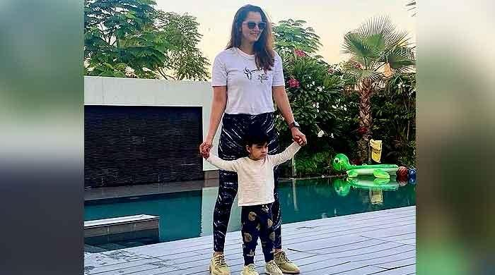 Sania Mirza and son look adorable twinning in white and blue outfits