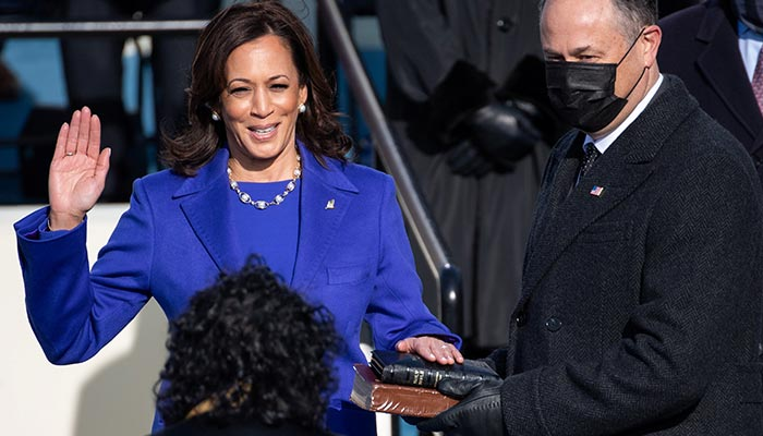 Kamala Harris is sworn in as Vice President as her spouse Doug Emhoff holds a bible during the 59th Presidential Inauguration at in Washington, U.S., January 20, 2021. — Reuters
