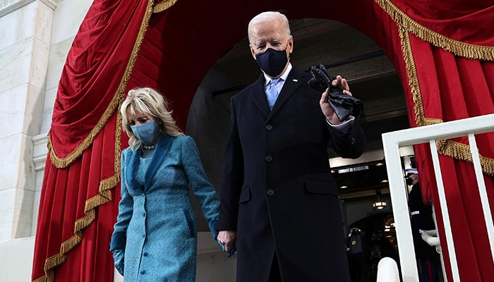 President-elect Joe Biden arrives with his wife Jill Biden for his inauguration as the 46th President of the United States on the West Front of the U.S. Capitol in Washington, U.S., January 20, 2021. — Reuters