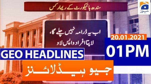 Geo Headlines 01 PM | 20th January 2021