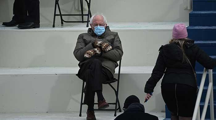 Picture of Bernie Sanders sitting alone at Joe Biden's inauguration breaks the internet