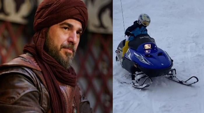 'Ertugrul' star Engin Altan's son Emir's snowmobile ride video breaks the internet