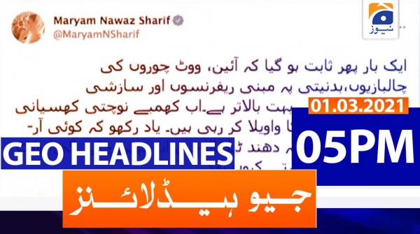 Geo Headlines 05 PM | 1st March 2021