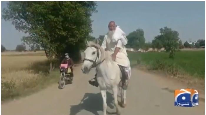 WATCH: 75-year-old man rides a horse to reach polling station in NA-75