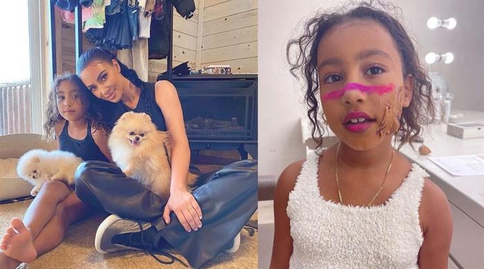 Kim Kardashian's daughter North West tests out some makeup looks