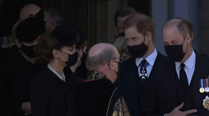 Prince Harry, Kate Middleton and Prince William seen talking after Prince Philip's funeral