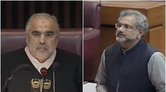 Watch: Former PM Shahid Khaqan Abbasi threatens to hit NA speaker with shoe