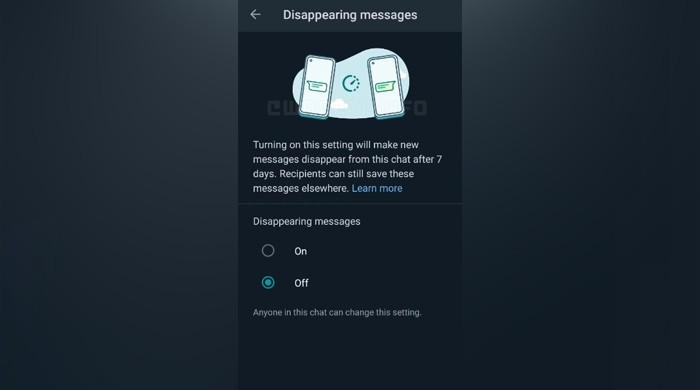 WhatsApp update: Animated header for disappearing messages