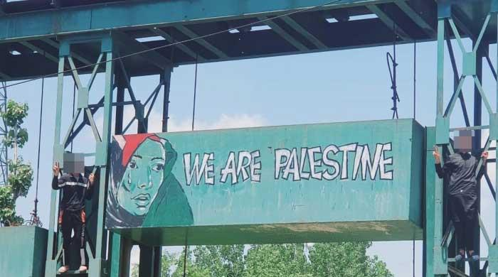 Artist arrested over 'WE ARE PALESTINE' graffiti in India-occupied Kashmir