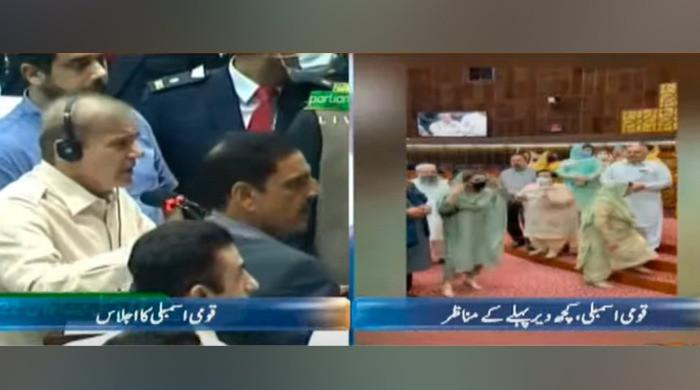 Govt, Opposition lawmakers almost come to blows during Shahbaz Sharif's NA speech