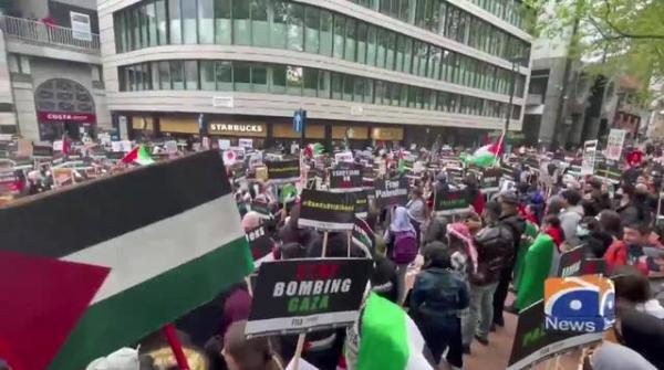 Geo News Special - Palestine protesters on roof of Arconic site over 'materials for fighter jets'