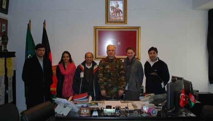 The author and other journalists with a Turkish commander in Afghanistan. — Photo provided by author