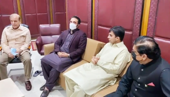 (L to R)Opposition Leader in the National Assembly Shehbaz Sharif, PPP Chairman Bilawal Bhutto, MNA Mohsin Dawar, and former prime minister and PPP leader Raja Pervez Ashraf meeting in Islamabad, on June 16, 2021. — Still from video shared by PPPs media cell.