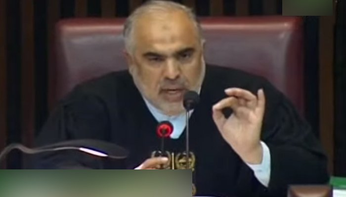 National Assembly Speaker Asad Qaiser addressing Leader of the Opposition Shahbaz Sharif (who cannot be seen) during the budget session in Islamabad, on June 16, 2021. — YouTube