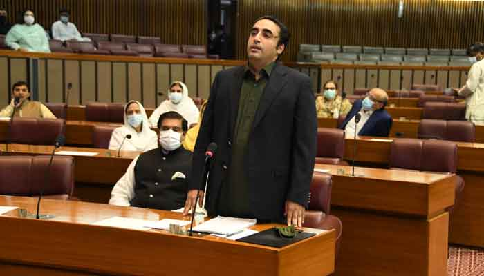 PPP Chairman Bilawal Bhutto Zardari speaking during the session of the National Assembly on June 18, 2021.— Photo courtesy Twitter/National Assembly of Pakistan
