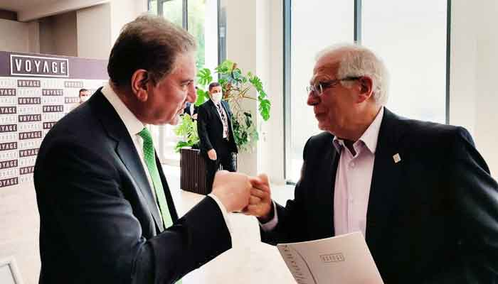 Minister for Foreign Affairs Shah Mahmood Qureshi is seen fist bumping EU High Representative/Vice President Josep Borrell on the sidelines of the Antalya Diplomacy Forum in Turkey, on June 18, 2021. — Photo courtesy Twitter/@SMQureshiPTI