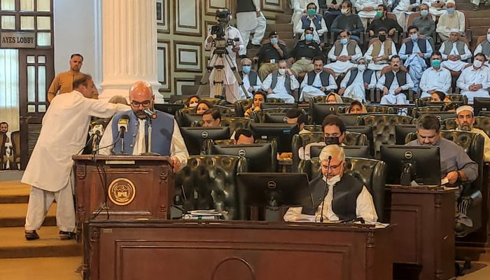 Finance Minister Taimur Salim Jhagra presents PTI-led governments third budget at KP Assembly in Peshawar, on June 18, 2021. — Twitter