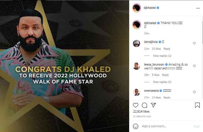 DJ Khaled receives Hollywood Walk of Fame Star