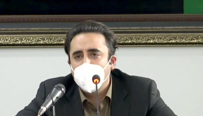 PPP Chairperson Bilawal Bhutto Zardari speaks during a press conference. Photo: File