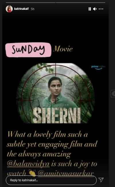 Katrina Kaif shares thoughts on Vidya Balans new film Sherni