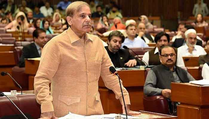 Leader of the Opposition in the National Assembly Shahbaz Sharif while delivering an address in the National Assembly. — Photo courtesy Twitter/National Assembly of Pakistan