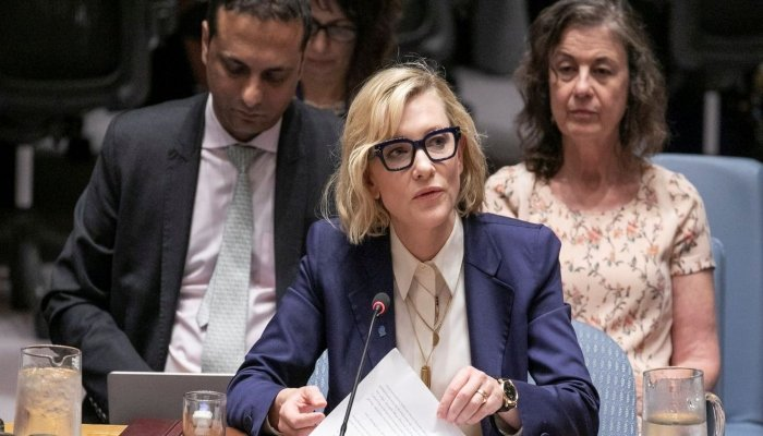 Cate Blanchett said the COVID-19 pandemic offers a chance to reflect on the uncertainty faced by refugees