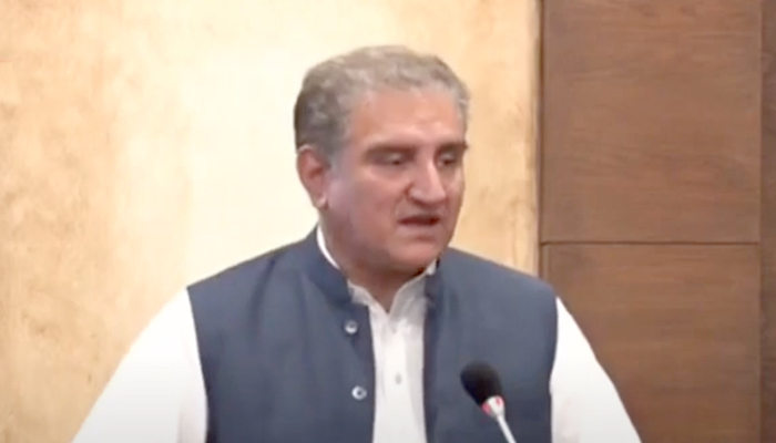 Foreign Minister Shah Mahmood Qureshi addressing a press conference in Islamabad, on June 21, 2021. — Geo News screengrab