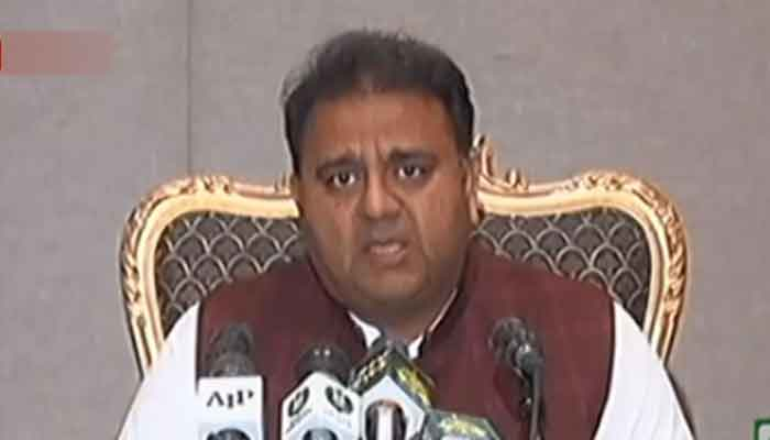 Federal Information Minister Fawad Chaudhry speaks to the media after the cabinet meeting. Photo: Radio Pakistan