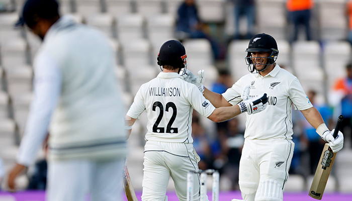 ICC World Test Championship Final - India v New Zealand - Rose Bowl, Southampton, Britain - June 23, 2021 New Zealands Kane Williamson and Ross Taylor celebrate after winning the ICC World Test Championship Final. — Reuters