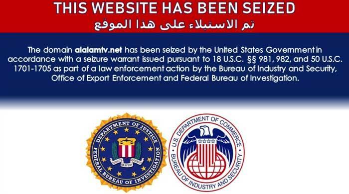 US seizes Iran's Press TV, Al-Alam websites