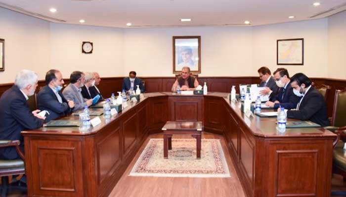 Foreign Minister Shah Mahmood Qureshi and Irans Special Envoy on Afghanistan Mohammad Ebrahim Taherian Fard discuss Afghan peace process and Pak-Iran bilateral relations.-APP