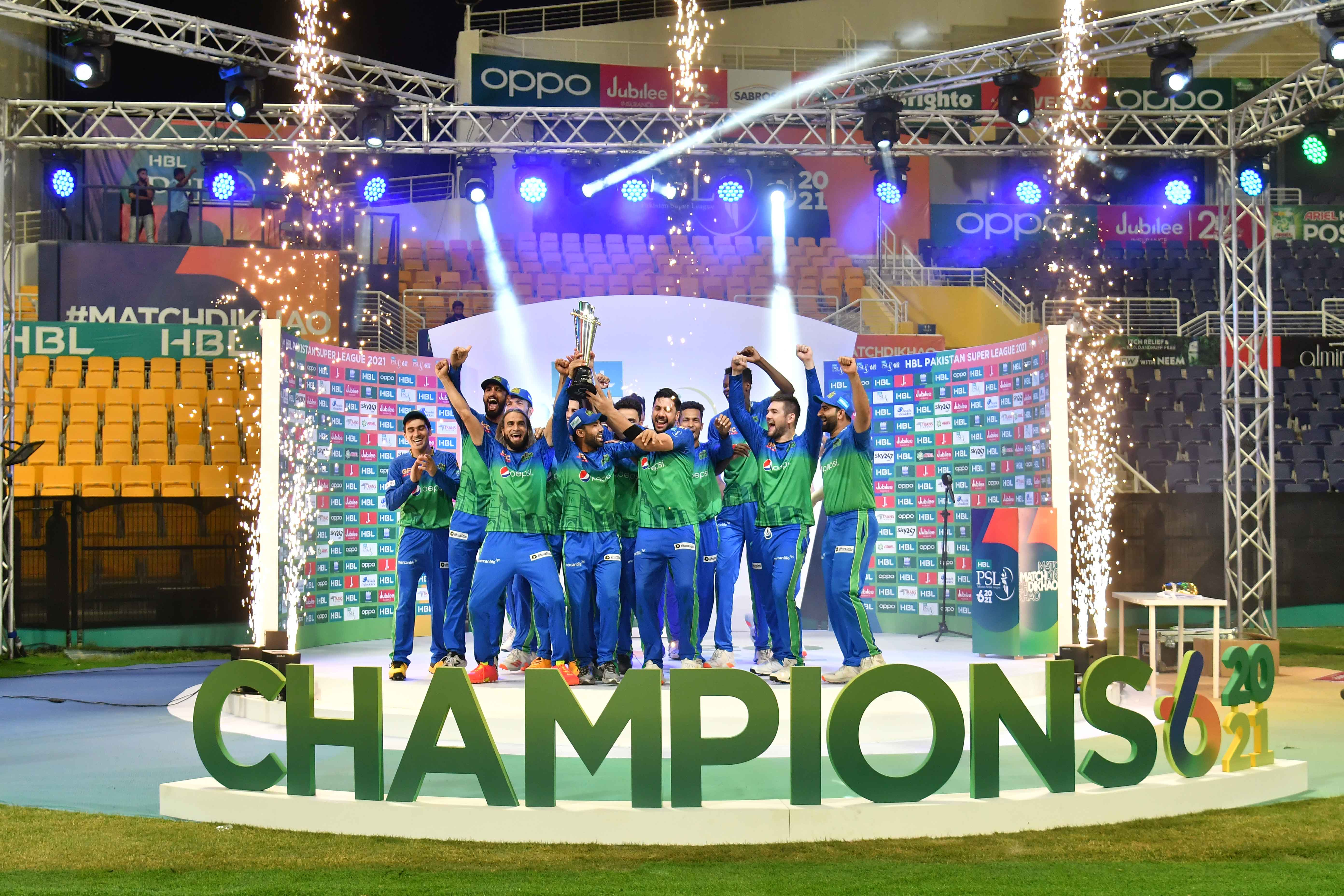 Multan Sultans celebrate as they lift their first PSL trophy, at the Sheikh Zayed Cricket Stadium, in Abu Dhabi, on June 25, 2021. — PSL