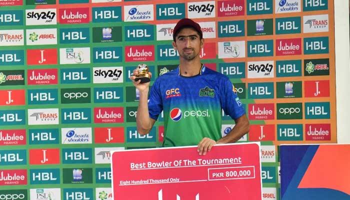 Shahnawaz Dahani after receiving his Best Bowler of The Tournament award of thePSL 2021.