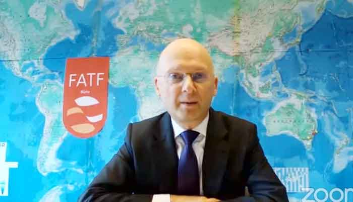 President of the FATF, Dr Marcus Pleyer, addressing a press conference, on June 25, 2021. — FATF