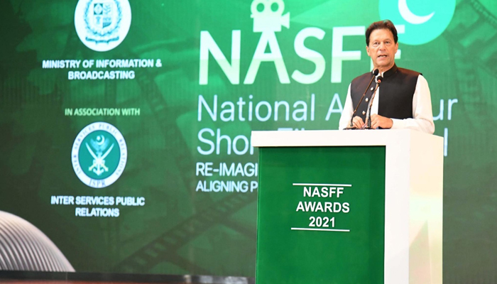 Prime Minister Imran Khan speaking during the National Amateur Short Film Festival (NASFF) Awards Ceremony in Islamabad, on June 26, 2021. — PID