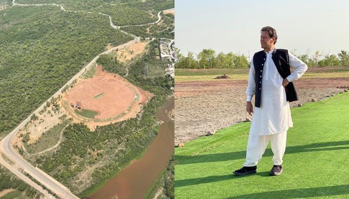 (L to R) The crushed  that is being established astatine  Bani Gala and Prime Minister Imran Khan tin  beryllium  lasting  there. — Twitter/ImranKhanPTI