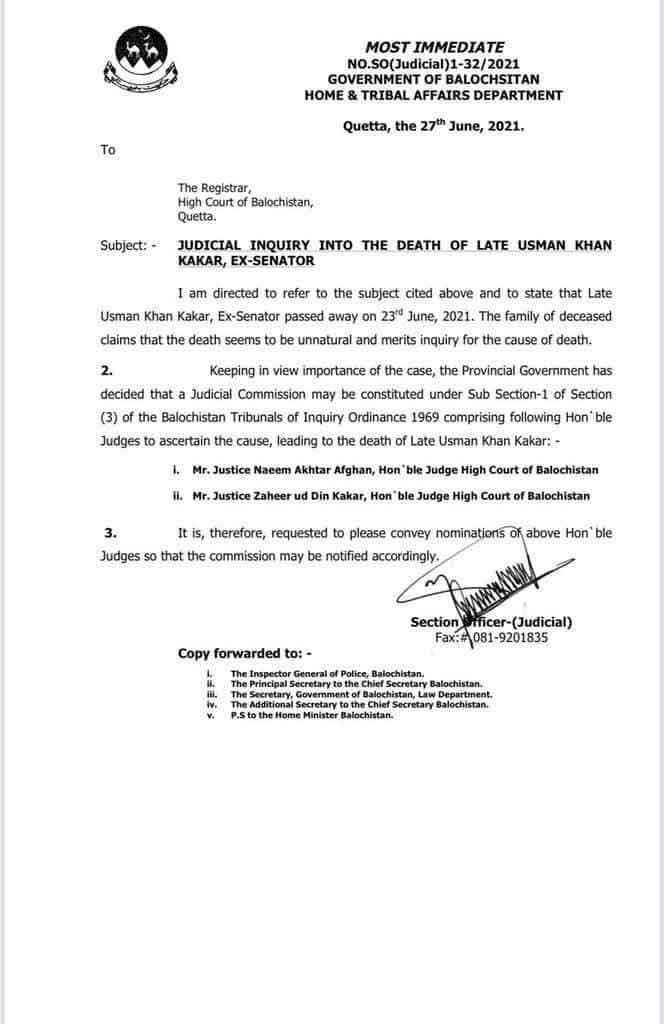Government of Balochistan to Form Judicial Commission to Investigate Death of PkMAP Usman Kakar