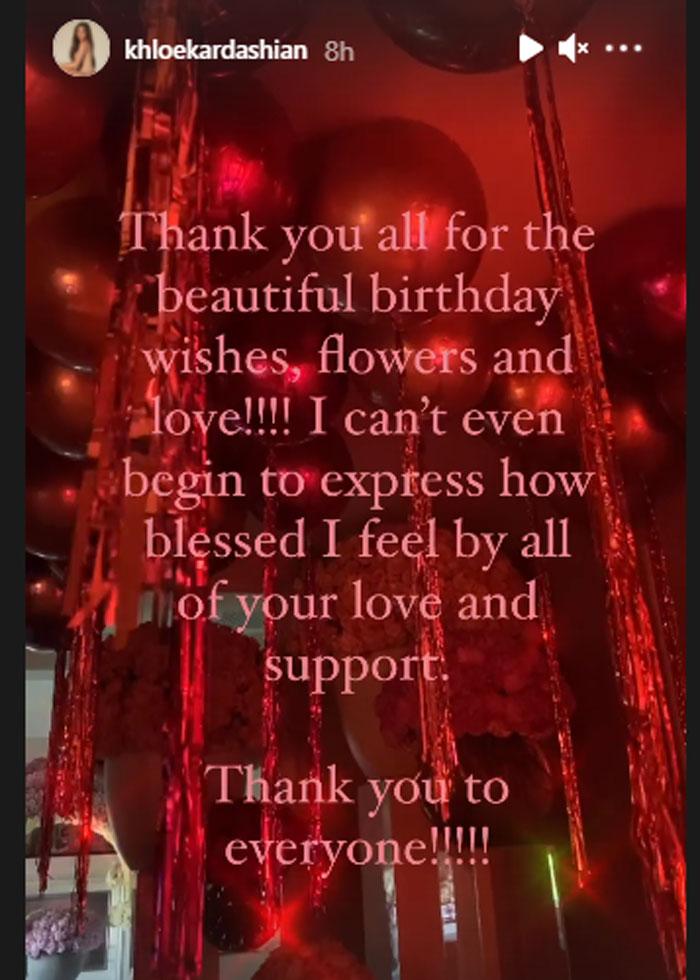 Khloe Kardashian grateful to everyone for beautiful birthday wishes