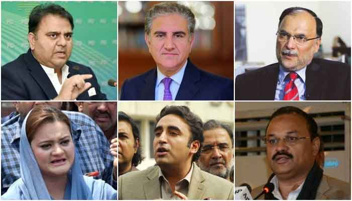 (Top L to bottom R): Minister for Information Fawad Chaudhry, Minister for Foreign Affairs Shah Mahmood Qureshi, PML-N secretary general Ahsan Iqbal, PML-N spokesperson Marriyum Aurangzeb, PPP Chairman Bilawal Bhutto Zardari and PTIs chief whip in the National Assembly, Amir Dogar.