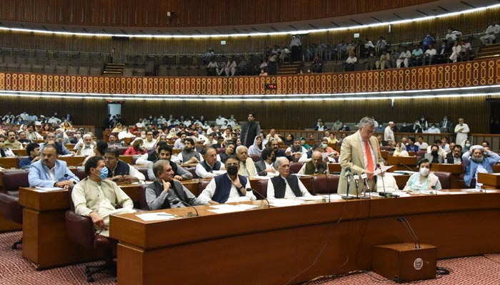 Finance Minister Shaukat Tarin presenting speaking on the floor of the National Assembly in Islamabad, on June 29, 2021. — Twitter/NAofPakistan