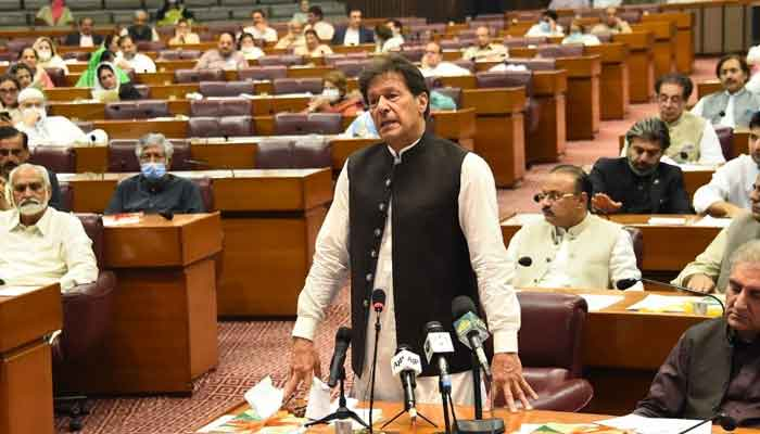 Prime Minister Imran Khan addresses a session of the National Assembly, following the passing of the federal budget a day earlier, on June 30, 2021. — Photo courtesy Twitter/NAofPakistan
