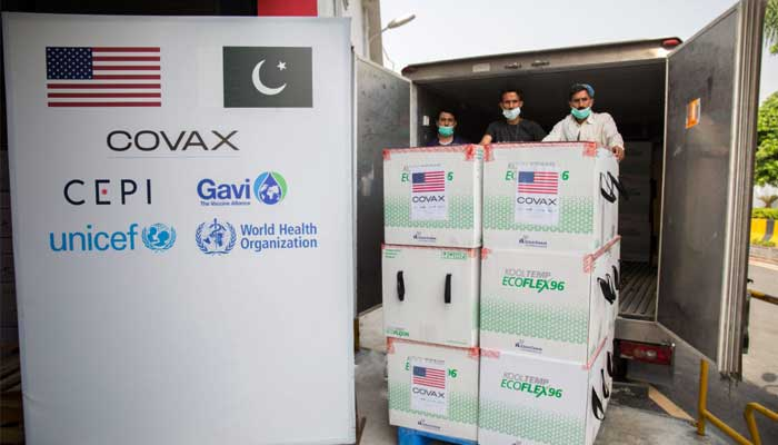 First shipment of Moderna vaccine being unloaded at Islamabad International Airport.