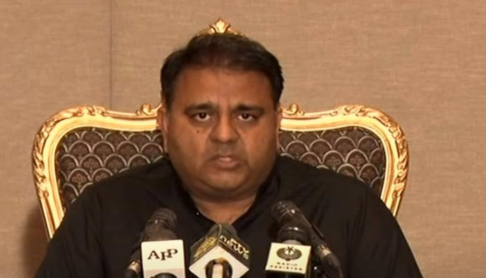 Federal Minister for Information and Broadcasting Fawad Chaudhry speaking to the media on Tuesday, July 6, after a meeting of the federal cabinet in Islamabad. Photo: Screengrab via Hum News.