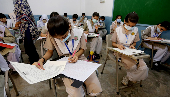 Students of class X solve their matriculation paper in the examination center in Hyderabad, on July 5, 2021. — INP/File