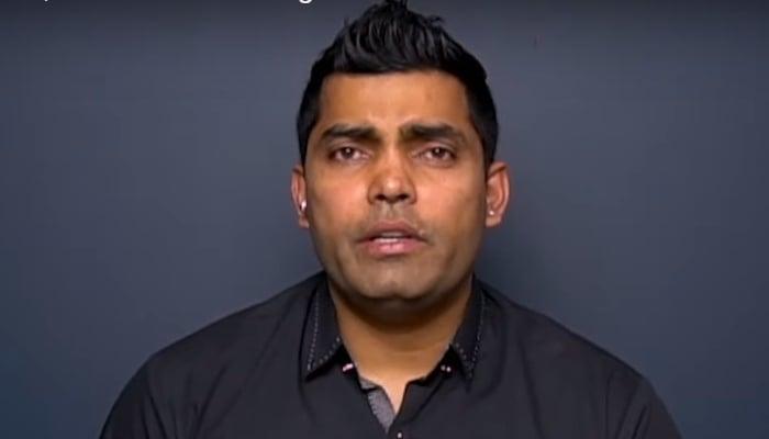 Pakistani batsman Umar Akmal records a video message. Photo: YouTube screengrab