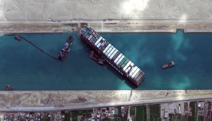 This satellite imagery released by Maxar Technologies shows the MV Ever Given container ship in the Suez Canal on the morning of March 28, 2021. Photo: AFP/Satellite image Maxar Technologies