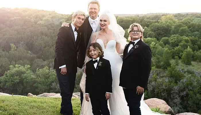 Gwen Stefani and Blake Shelton melt hearts as they pose with sons on wedding day