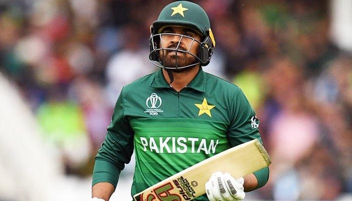 Pakistan batsman Haris Sohail while taking a run during a match of the ICC Mens Cricket World Cup 2019. Photo: Twitter/ Haris Sohail